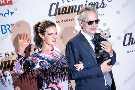 Andrea Bocelli (R) and his wife Veronica Berti (L) pose on the red carpet before the TV show 'Schlagerchampions 2020 - Das grosse Fest der Besten' (lit. The Big Festival of the Best) in Berlin, Germany, 11 January 2020.