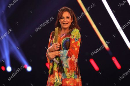 Stock Picture of Andrea Berg on stage during the TV show 'Schlagerchampions 2020 - Das grosse Fest der Besten' (lit. The Big Festival of the Best) in Berlin, Germany, 11 January 2020.