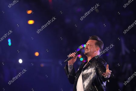 Stock Photo of Ben Zucker on stage during the TV show 'Schlagerchampions 2020 - Das grosse Fest der Besten' (lit. The Big Festival of the Best) in Berlin, Germany, 11 January 2020.