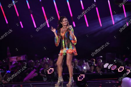 Andrea Berg on stage during the TV show 'Schlagerchampions 2020 - Das grosse Fest der Besten' (lit. The Big Festival of the Best) in Berlin, Germany, 11 January 2020.