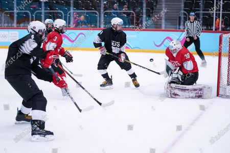 Stock Picture of Ice Hockey 3on3 - Qualification Day 2, save from Goalkeeper Matthias Bittner (GER/Red Team)