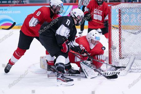 Ice Hockey 3on3 - Qualification Day 2, Linas Dedinas (LTU/Black Team) scores against Goalkeeper Matthias Bittner (GER/Red Team) and Tjas Lesnicar (SLO/Red Team).