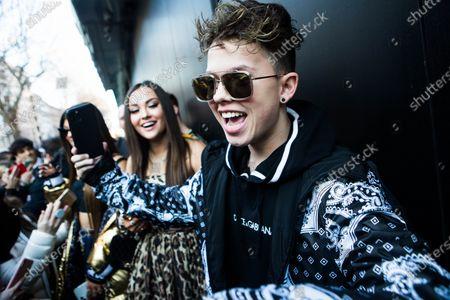 Editorial photo of Dolce & Gabbana show, Arrivals, Autumn Winter 2020, Milan Fashion Week Men's, Italy - 11 Jan 2020