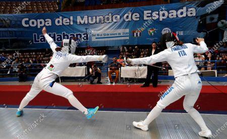 Italian Rossella Fiamingo (R) faces Estonian Julia Beljajeva (L) in the team final of the Women's Epee World Cup, in Havana, Cuba, 12 January 2020.