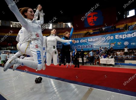 Members of the Italian team Rossella Fiamingo, Federica Isola, Mara Navarria and Alberta Santuccio celebrate after winning the gold in the team final of the Women's Epee World Cup, in Havana, Cuba, 12 January 2020.