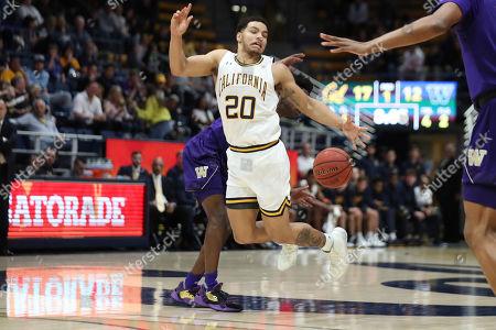 California guard Matt Bradley (20) is fouled by Washington guard Elijah Hardy during the first half of an NCAA college basketball game in Berkeley, Calif