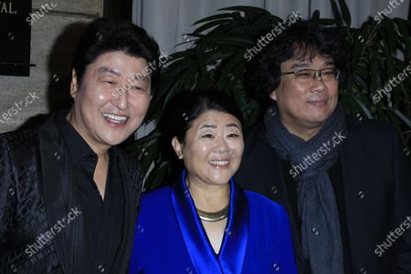 (L to R) South Korean actors Kang-Ho Song, Lee Jung-eun and director Bong Joon-Ho arrive for the Los Angeles Film Critics Awards at the InterContinental Hotel in Century City, California, USA, 11 January 2020.