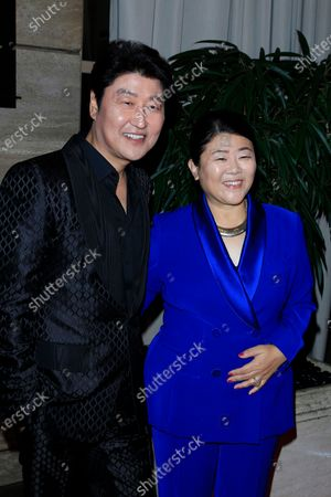 Kang-Ho Song and Lee Jung-eun arrive for the Los Angeles Film Critics Awards at the InterContinental Hotel in Century City, California, USA, 11 January 2020.