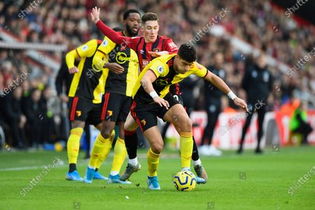 Adam Masina of Watford holds off Harry Wilson of Bournemouth during AFC Bournemouth vs Watford, Premier League Football at the Vitality Stadium on 12th January 2020