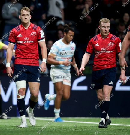 Racing 92 vs Munster. Munster's Mike Haley and Keith Earls dejected after conceding a try
