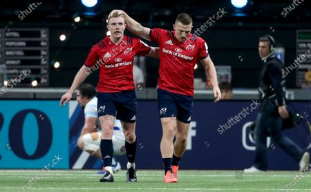 Racing 92 vs Munster. Munster's Andrew Conway celebrates his try with Keith Earls