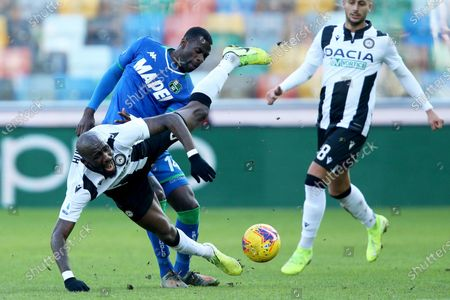 Stock Picture of Udinese's Seko Fofana (L) and Sassuolo's Pedro Obiang in action during the Italian Serie A soccer match Udinese Calcio vs US Sassuolo at the Friuli - Dacia Arena stadium in Udine, Italy, 12 January 2020.