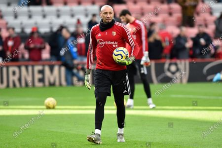 Stock Picture of Heurelho Gomes (1) of Watford warming up ahead the Premier League match between Bournemouth and Watford at the Vitality Stadium, Bournemouth