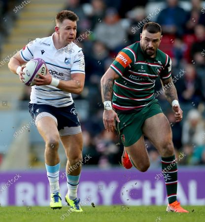 Leicester Tigers vs Cardiff Blues. Cardiff Blues' Jason Harries and Rory Hughes of Leicester Tigers