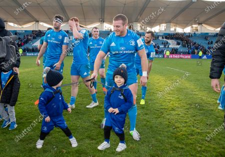 Leinster vs Lyon. Leinster's Sean Cronin with his twin boys Cillian and Finn after the game