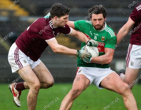 Stock Image of Mayo vs Galway. Mayo's Tom Parsons and Mikey Boyle of Galway