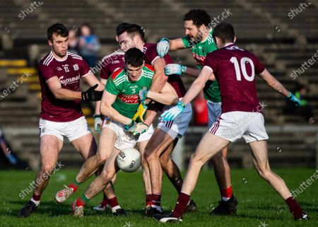 Mayo vs Galway. Mayo's James McCormack and Tom Parsons with Fiontan Ó Curraoin, Patrick Kelly and Paul Conroy of Galway