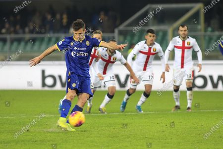 Hellas Verona's Valerio Verre scores during the Italian Serie A soccer match Hellas Verona FC vs Genoa FC at Marcantonio Bentegodi stadium in Verona, Italy, 12 January 2020.