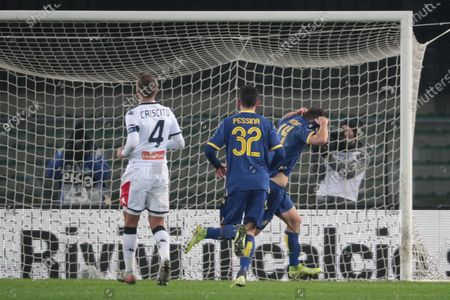 Verona's Valerio Verre (R) jubilates after scoring on penalty the 1-1 goal during the Italian Serie A soccer match Hellas Verona FC vs Genoa FC at Marcantonio Bentegodi stadium in Verona, Italy, 12 January 2020.