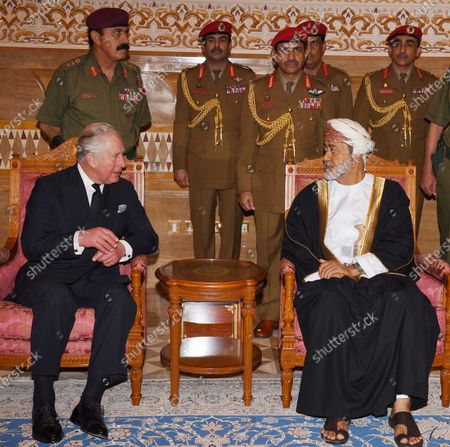 Britain's Charles, Prince Charles (L) offers his condolences to Oman's Sultan Haitham bin Tariq Al Said (R) on the death of Sultan Qaboos, in Muscat, Oman, 12 January 2020. Sultan Qaboos bin Said al Said, who ruled Oman for 50 years, has died at the age of 79 on 10 January 2020. Haitham bin Tariq Al Said, cousin of the late Sultan, was appointed new ruler on 11 January 2020