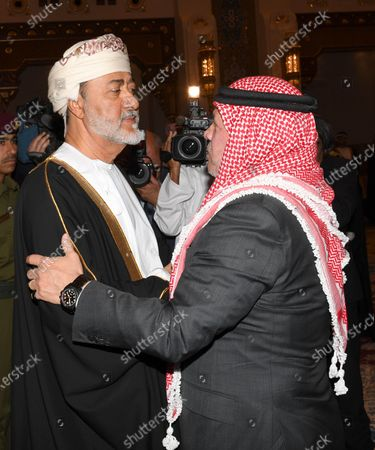 Jordan's King Abdullah bin Al Hussein (R) offers his condolences to Oman's Sultan Haitham bin Tariq Al Said (L) on the death of Sultan Qaboos, in Muscat, Oman, 12 January 2020. Sultan Qaboos bin Said, who ruled Oman for 50 years, has died at the age of 79 on 10 January 2020. Haitham bin Tariq Al Said, cousin of the late Sultan, was appointed new ruler on 11 January 2020.