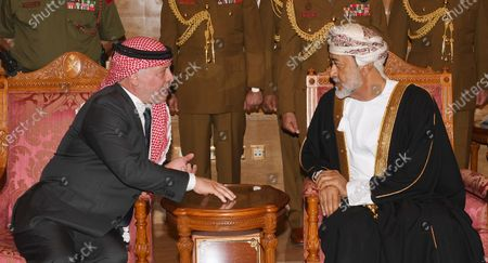 Jordan's King Abdullah bin Al Hussein (L) offers his condolences to Oman's Sultan Haitham bin Tariq Al Said (L) on the death of Sultan Qaboos, in Muscat, Oman, 12 January 2020. Sultan Qaboos bin Said, who ruled Oman for 50 years, has died at the age of 79 on 10 January 2020. Haitham bin Tariq Al Said, cousin of the late Sultan, was appointed new ruler on 11 January 2020.