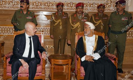 Tunisian President Kais Saied (l) offers his condolences to Oman's Sultan Haitham bin Tariq Al Said (R) on the death of Sultan Qaboos, in Muscat, Oman, 12 January 2020. Sultan Qaboos bin Said, who ruled Oman for 50 years, has died at the age of 79 on 10 January 2020. Haitham bin Tariq Al Said, cousin of the late Sultan, was appointed new ruler on 11 January 2020.