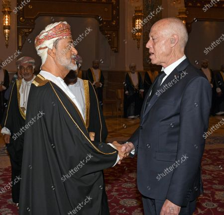 Tunisian President Kais Saied (R) offers his condolences to Oman's Sultan Haitham bin Tariq Al Said (L) on the death of Sultan Qaboos, in Muscat, Oman, 12 January 2020. Sultan Qaboos bin Said, who ruled Oman for 50 years, has died at the age of 79 on 10 January 2020. Haitham bin Tariq Al Said, cousin of the late Sultan, was appointed new ruler on 11 January 2020.