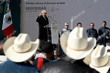 CC. Mexico's President Andres Manuel Lopez Obrador speaks during his visit to the small town of La Mora, Sonora state, Mexico, . Lopez Obrador said Sunday there is an agreement to establish a monument will be put up to memorialize nine U.S.-Mexican dual citizens ambushed and slain last year by drug gang assassins along a remote road near New Mexico