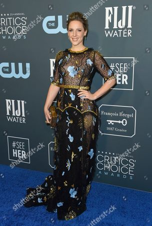 Stock Picture of Jessie Mueller arrives at the 25th annual Critics' Choice Awards, at the Barker Hangar in Santa Monica, Calif