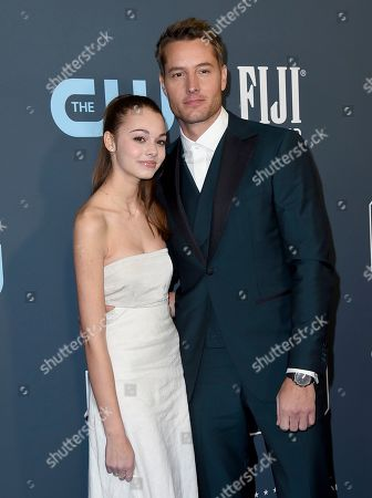 Isabella Hartley, Justin Hartley. Isabella Hartley, left, and Justin Hartley arrive at the 25th annual Critics' Choice Awards, at the Barker Hangar in Santa Monica, Calif