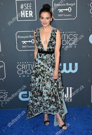 Jenny Slate arrives at the 25th annual Critics' Choice Awards, at the Barker Hangar in Santa Monica, Calif