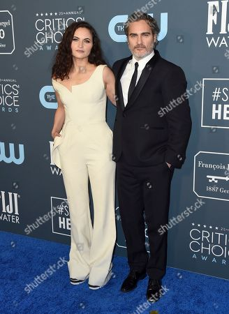 Rain Phoenix, Joaquin Phoenix. Rain Phoenix, left, and Joaquin Phoenix arrive at the 25th annual Critics' Choice Awards, at the Barker Hangar in Santa Monica, Calif