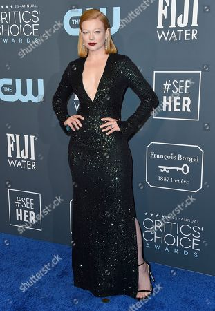 Sarah Snook arrives at the 25th annual Critics' Choice Awards, at the Barker Hangar in Santa Monica, Calif