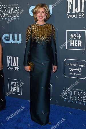 Christine Baranski arrives at the 25th annual Critics' Choice Awards, at the Barker Hangar in Santa Monica, Calif