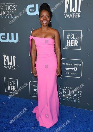 Marsha Stephanie Blake arrives at the 25th annual Critics' Choice Awards, at the Barker Hangar in Santa Monica, Calif