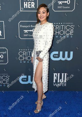 Karen Fukuhara arrives at the 25th annual Critics' Choice Awards, at the Barker Hangar in Santa Monica, Calif
