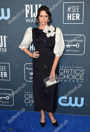 Stock Picture of Amy Landecker arrives at the 25th annual Critics' Choice Awards, at the Barker Hangar in Santa Monica, Calif