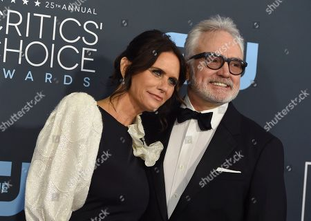 Bradley Whitford, Amy Landecker. Bradley Whitford, right, and Amy Landecker arrive at the 25th annual Critics' Choice Awards, at the Barker Hangar in Santa Monica, Calif