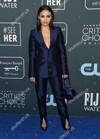 Aimee Carrero arrives at the 25th annual Critics' Choice Awards, at the Barker Hangar in Santa Monica, Calif
