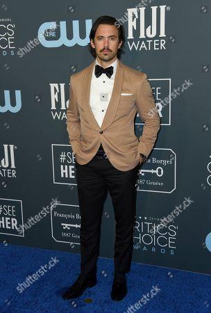 Milo Ventimiglia arrives at the 25th annual Critics' Choice Awards, at the Barker Hangar in Santa Monica, Calif