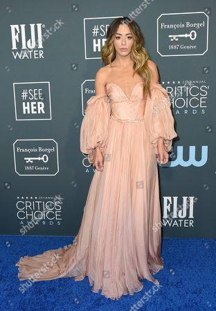 Chloe Bennet arrives at the 25th annual Critics' Choice Awards, at the Barker Hangar in Santa Monica, Calif