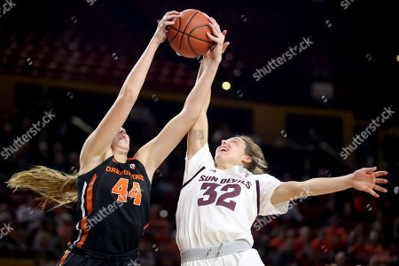 Oregon State's Taylor Jones (44) wins a rebound over Arizona State's Jayde Van Hyfte (32) during the second half of an NCAA college basketball game, in Tempe, Ariz
