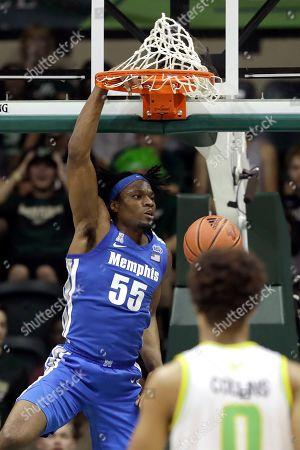 Precious Achiuwa, David Collins. Memphis forward Precious Achiuwa (55) dunks over South Florida guard David Collins during the second half of an NCAA college basketball game, in Tampa, Fla