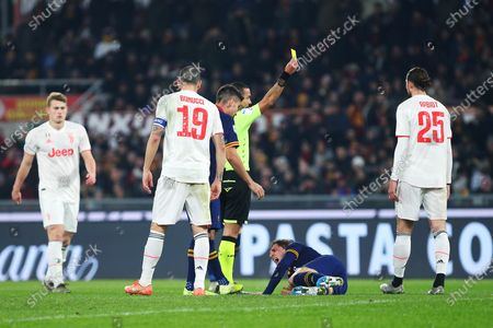 Nicolo' Zaniolo of Roma falls on the ground while fighting for the ball with Adrien Rabiot during the Italian championship Serie A football match between AS Roma and Juventus on at Stadio Olimpico in Rome, Italy - Photo Federico Proietti/ESPA-Imaes
