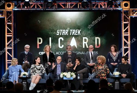 "Alison Pill, Alex Kurtzman, Isa Briones, Heather Kadin, Patrick Stewart, Michael Chabon, Evan Evagora, Akiva Goldsman, Michelle Hurd, Kirsten Beyer, Santiago Cabrera. Alison Pill, from left, Alex Kurtzman, Isa Briones, Heather Kadin, Patrick Stewart, Michael Chabon, Evan Evagora, Akiva Goldsman, Michelle Hurd, Kirsten Beyer and Santiago Cabrera attend the ""Star Trek: Picard"" panel during the CBS TCA Winter 2020 Press Tour at the Langham Huntington Hotel, in Pasadena, Calif"