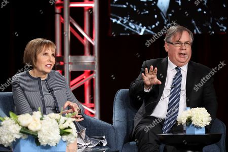 """Michelle King, Robert King. Robert King, with Michelle King, speaks at the """"The Good Fight"""" panel during the CBS TCA Winter 2020 Press Tour at the Langham Huntington Hotel, in Pasadena, Calif"""