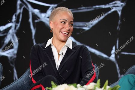 "Stock Photo of Cush Jumbo speaks at the ""The Good Fight"" panel during the CBS TCA Winter 2020 Press Tour at the Langham Huntington Hotel, in Pasadena, Calif"