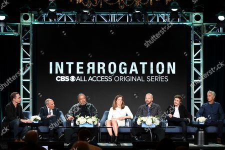 "Anders Weidemann, John Mankiewicz, Ernest R. Dickerson, Johanna Factor, Peter Sarsgaard, Kyle Gallner, David Strathairn. Anders Weidemann, from left, John Mankiewicz, Ernest R. Dickerson, Johanna Factor, Peter Sarsgaard, Kyle Gallner and David Strathairn speak at the ""Interrogation"" panel during the CBS TCA Winter 2020 Press Tour at the Langham Huntington Hotel, in Pasadena, Calif"