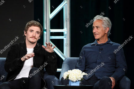 "Kyle Gallner, David Strathairn. Kyle Gallner, left, and David Strathairn speak at the ""Interrogation"" panel during the CBS TCA Winter 2020 Press Tour at the Langham Huntington Hotel, in Pasadena, Calif"